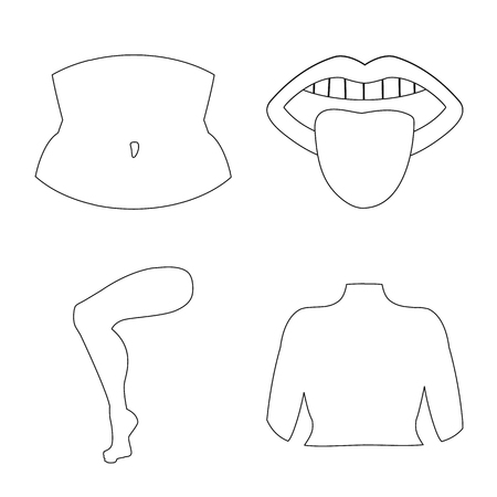 Isolated object of body and part symbol. Collection of body and anatomy vector icon for stock. Imagens - 124933903