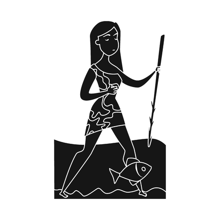 Vector design of woman and neanderthal sign. Set of woman and fish stock vector illustration.