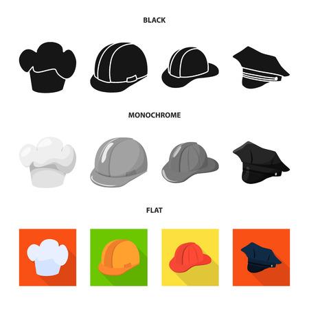 Illustration vectorielle de signe de vêtements et de casquette. Collection de vêtements et symbole boursier de béret pour le web.