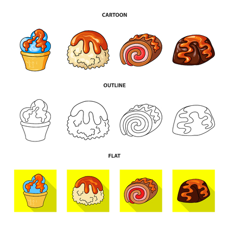 Isolated object of confectionery and culinary symbol. Set of confectionery and product stock vector illustration.