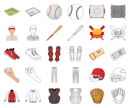 Baseball and attributes cartoon,outline icons in set collection for design.Baseball player and equipment vector symbol stock web illustration.