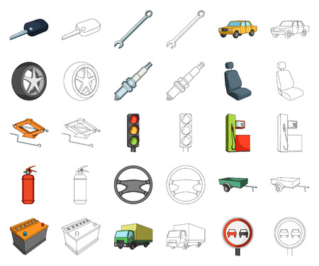 Car, vehicle cartoon,outline icons in set collection for design. Car and equipment vector symbol stock web illustration. Иллюстрация