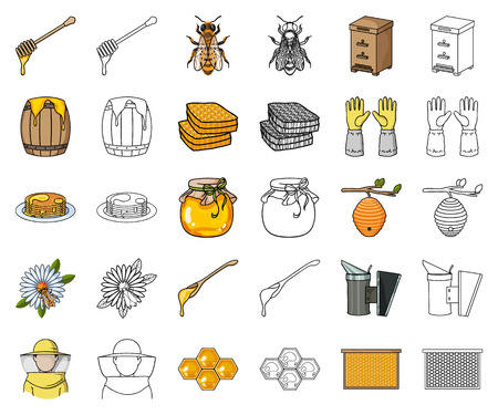 Apiary and beekeeping cartoon,outline icons in set collection for design.Equipment and production of honey vector symbol stock web illustration.