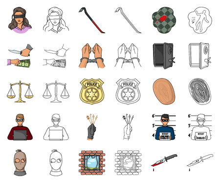 Crime and Punishment cartoon,outline icons in set collection for design.Criminal vector symbol stock web illustration.