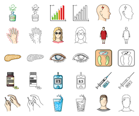 Diabetes cartoon,outline icons in set collection for design. Treatment of diabetes vector symbol stock web illustration.