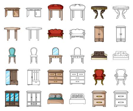 Mobilier et dessin animé d'intérieur, icônes de contour dans la collection de jeu pour la conception. Illustration de stock de symbole de vecteur de mobilier de maison.
