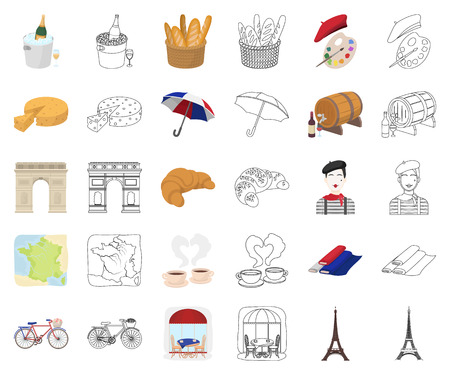 Country France cartoon,outline icons in set collection for design. France and landmark vector symbol stock web illustration. Ilustracja
