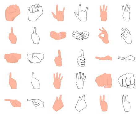Hand gesture cartoon,outline icons in set collection for design. Palm and finger vector symbol stock web illustration. Illustration