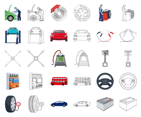 Car, lift, pump and other equipment cartoon,outline icons in set collection for design. Car maintenance station vector symbol stock illustration web. Vectores