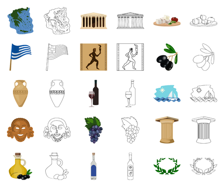 Country Greece cartoon,outline icons in set collection for design.Greece and landmark vector symbol stock web illustration.