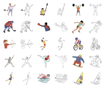 Different kinds of sports cartoon,outline icons in set collection for design. Athlete, competitions vector symbol stock  illustration.