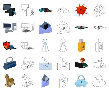 Hacker et piratage cartoon,icônes de contour dans la collection de jeu pour la conception. Hacker et équipement symbole vecteur illustration de stock.