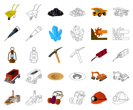 Mining industry cartoon,outline icons in set collection for design. Equipment and tools vector symbol stock illustration.