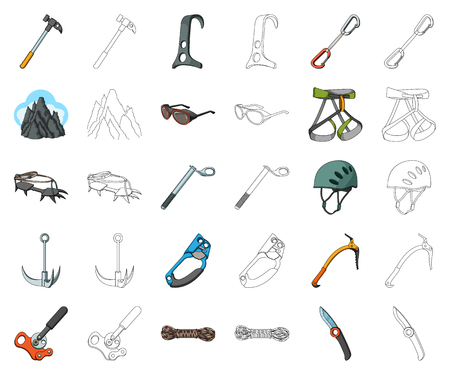 Mountaineering and climbing cartoon,outline icons in set collection for design. Equipment and accessories vector symbol stock  illustration. Ilustrace