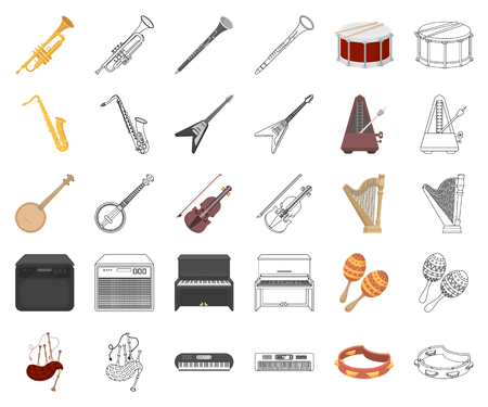 Musical instrument cartoon,outline icons in set collection for design. String and Wind instrument vector symbol stock  illustration. Illustration