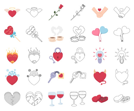 Romantic relationship cartoon,outline icons in set collection for design. Love and friendship vector symbol stock  illustration. Illusztráció