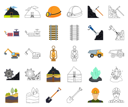 Mining industry cartoon,outline icons in set collection for design. Equipment and tools vector symbol stock web illustration.