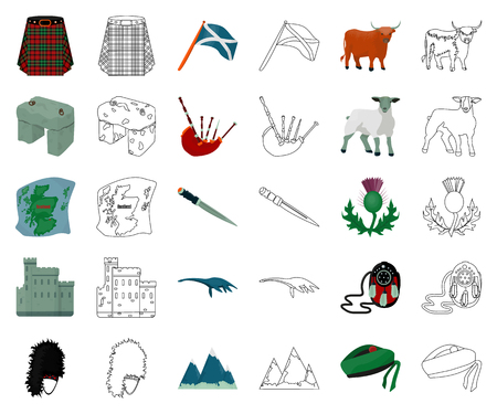 Country Scotland cartoon,outline icons in set collection for design. Sightseeing, culture and tradition vector symbol stock web illustration. Illusztráció
