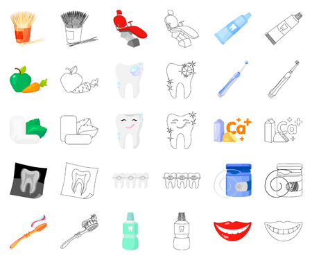 Dental care cartoon,outline icons in set collection for design. Care of teeth vector symbol stock web illustration.