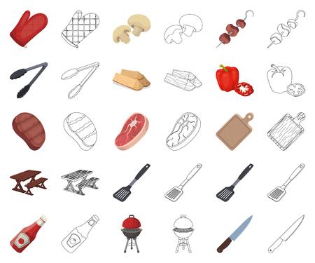 Grill- und Ausrüstungskarikatur, Umrisssymbole in der Setsammlung für Design. Picknick und frittierte Lebensmittelvektorsymbolvorrat-Netzillustration.