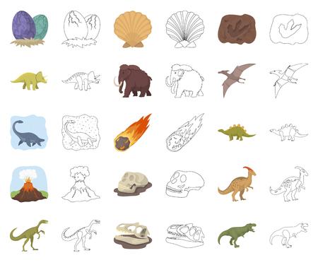 Différents dinosaures cartoon,icônes de contour dans la collection de jeu pour la conception. Illustration de stock de symbole de vecteur animal préhistorique.