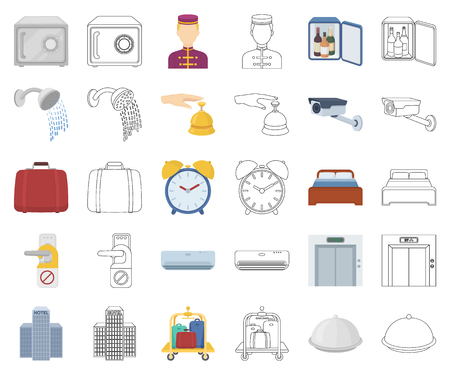 Hotel and equipment cartoon,outline icons in set collection for design. Hotel and comfort vector symbol stock web illustration. Stok Fotoğraf - 117837079