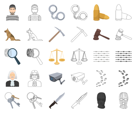 Prison and the criminal cartoon,outline icons in set collection for design.Prison and Attributes vector symbol stock illustration. Çizim