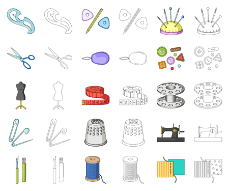 Sewing, atelier cartoon,outline icons in set collection for design. Tool kit vector symbol stock web illustration. Illusztráció