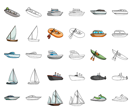 Water and sea transport cartoon,outline icons in set collection for design. A variety of boats and ships vector symbol stock web illustration. Illustration