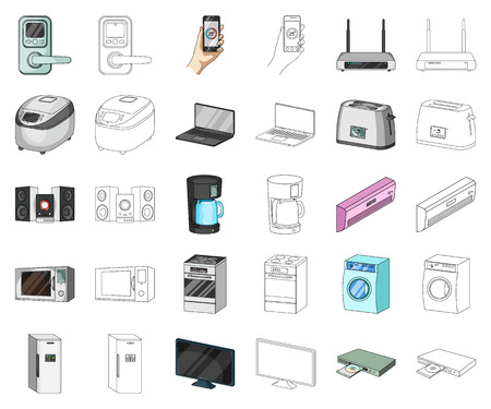 Smart home appliances cartoon,outline icons in set collection for design. Modern household appliances vector symbol stock illustration.