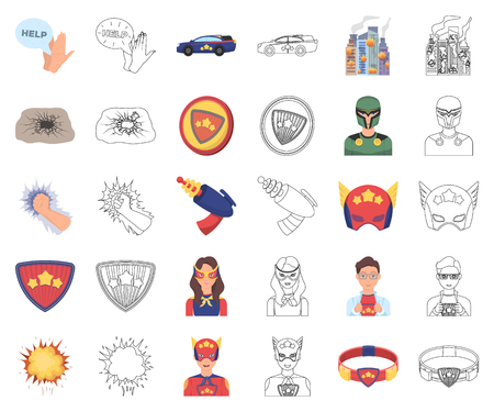A fantastic superhero cartoon,outline icons in set collection for design. Superheros equipment vector symbol stock web illustration.