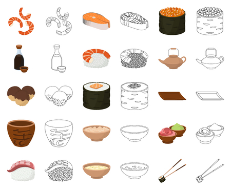 Sushi and seasoning cartoon,outline icons in set collection for design. Seafood food, accessory vector symbol stock web illustration. Vektorové ilustrace