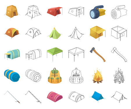 Different kinds of tents cartoon,outline icons in set collection for design. Temporary shelter and housing vector symbol stock web illustration. Vettoriali