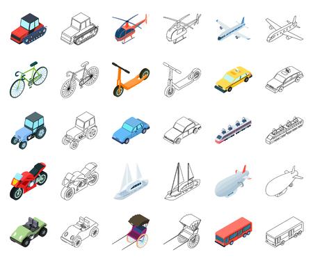 Diferentes tipos de dibujos animados de transporte, los iconos de contorno de colección set de diseño. Ejemplo isométrico del web de la acción del símbolo del vector del coche y de la nave. Ilustración de vector
