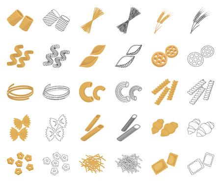 Arten von Pasta-Cartoon, Umrisssymbole in Set-Sammlung für Design. Dargestellte Makkaroni für das Essen von Vektorsymbolvorrat-Netzillustration.