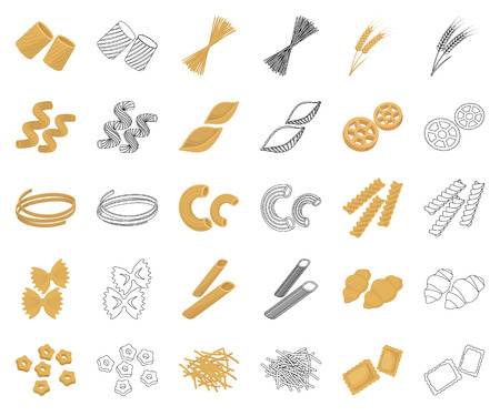 Types of pasta cartoon,outline icons in set collection for design. Figured macaroni for eating vector symbol stock web illustration.