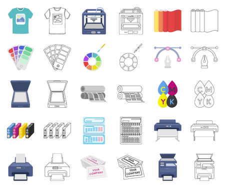 Typographical products cartoon,outline icons in set collection for design. Printing and equipment vector symbol stock web illustration. Illustration