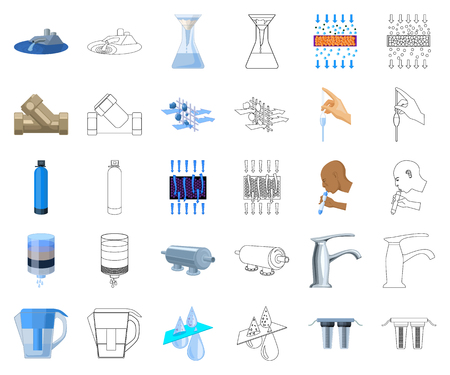 Water filtration system cartoon,outline icons in set collection for design. Cleaning equipment vector symbol stock web illustration.