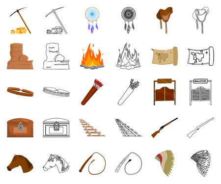 Attributes of the wild west cartoon,outline icons in set collection for design.Texas and America vector symbol stock web illustration.