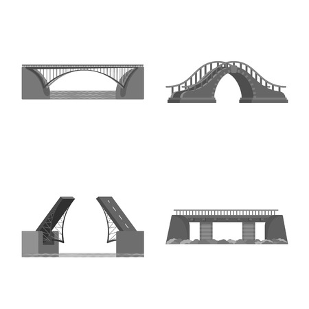Vector illustration of design and construct icon. Set of design and bridge vector icon for stock.