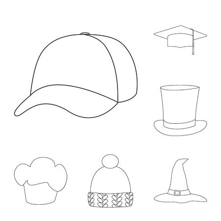 Vector illustration of headgear and napper sign. Set of headgear and helmet stock symbol for web.
