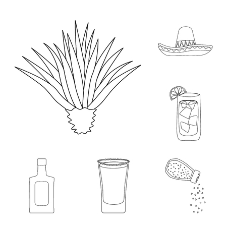 Vector illustration of Mexico and tequila symbol. Set of Mexico and fiesta stock symbol for web. Çizim
