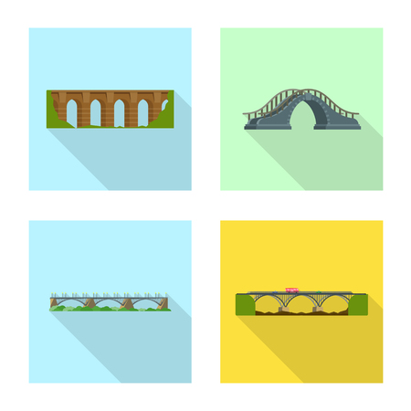 Vector illustration of bridgework and bridge logo. Set of bridgework and landmark stock symbol for web.