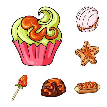 Vector design of dessert and sweet logo. Set of dessert and food vector icon for stock. Ilustração