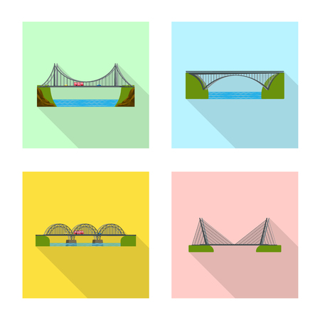 Isolated object of bridgework and bridge logo. Set of bridgework and landmark stock symbol for web.