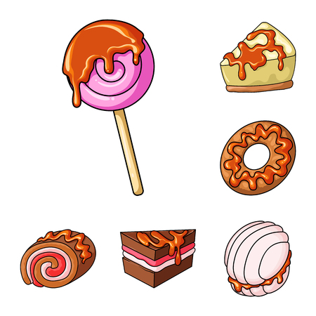 Isolated object of dessert and sweet sign. Collection of dessert and food stock symbol for web.
