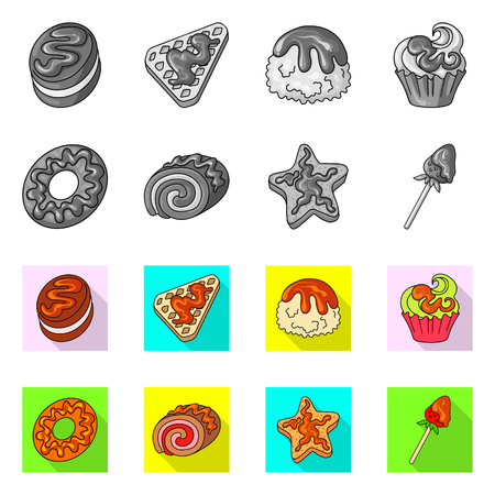 Vector illustration of confectionery and culinary symbol. Collection of confectionery and product stock symbol for web.