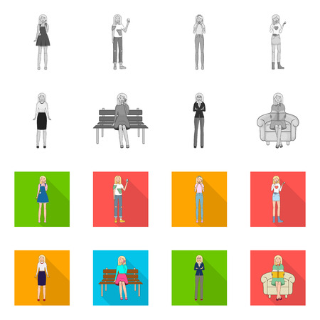 Isolated object of posture and mood icon. Collection of posture and female stock symbol for web.