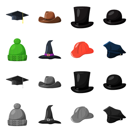Vector design of clothing and cap logo. Collection of clothing and beret stock symbol for web. Logo
