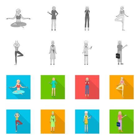 Isolated object of posture and mood icon. Set of posture and female vector icon for stock.
